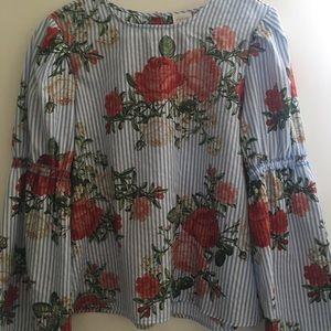 Stripy floral blouse